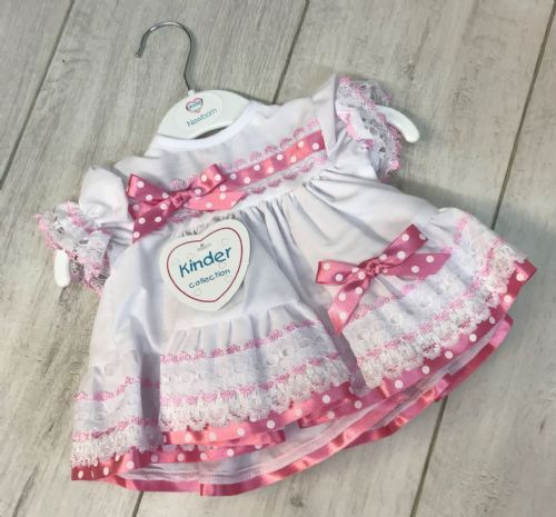 White Frill Dress with Pink Spot Ribbon